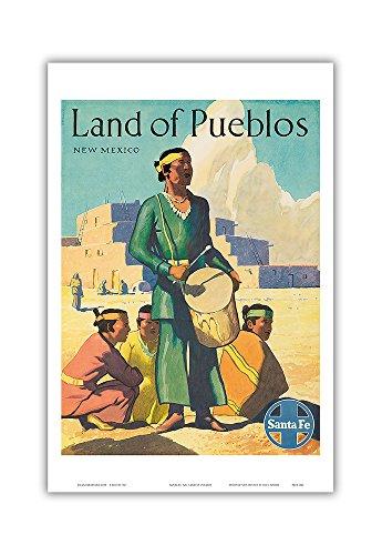 Land of Pueblos New Mexico - Santa Fe Railroad - Pueblo Indians - Vintage Railroad Travel Poster c.1950s - Master Art Print - 12in x 18in ()