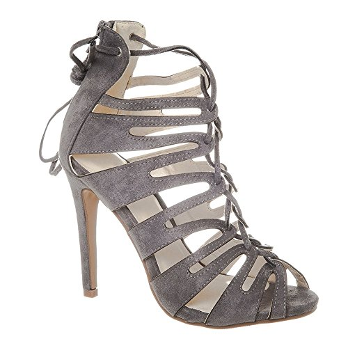 High Stiletto Heel Open Toe Lace Up Ghillie Shoe Grey FvxoDaGz