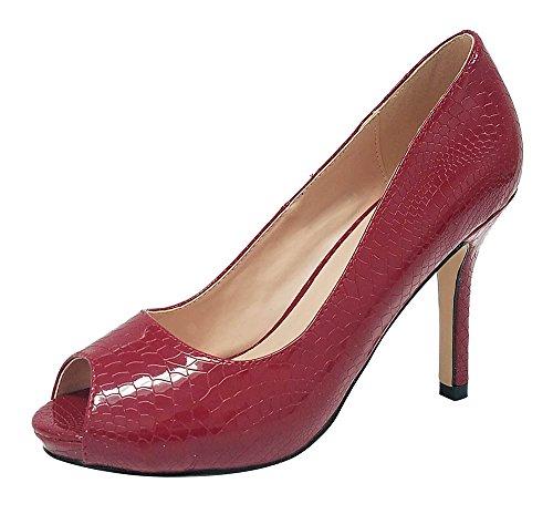 Pepe-12 Women's Open Toe Patent Comfort Fit Classic Party Date Platform Dress Heels Pumps shoes Wine 7