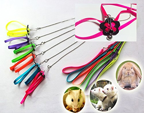CDL Adjustable Ferret Harness/Baby Rabbit/Hamster Rat Mouse Leash Lead Bell (Blue)