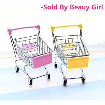 2 Pcs Beauy Girl Mini Shopping Cart Supermarket Handcart Shopping Utility Cart Mode Storage Toy (Pink and Yellow)