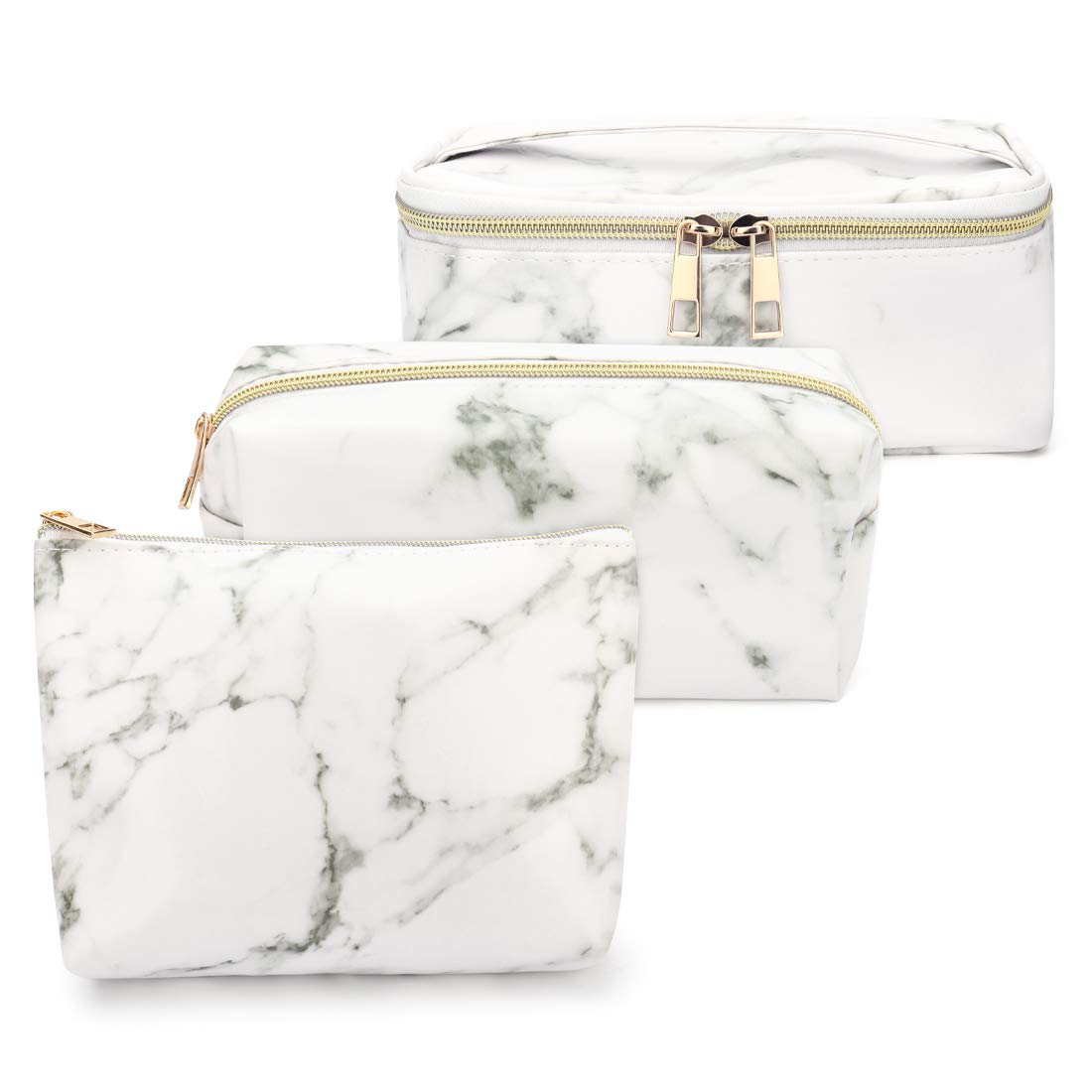 Lionvison 3Pcs Marble Makeup Bag Set - Multifunction Large Cosmetic Travel Bag, Moderate Toiletry Bag and Portable Cute Tiny Brush Storage Pouch for Women and Girls