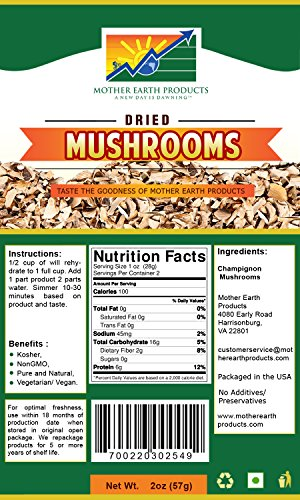 Mother Earth Products Dehydrated Mushrooms (2 Cup Mylar) - Freeze Dried Recipes