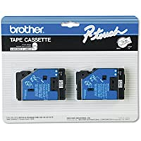 2/Pack 1/2 (12mm) Black on White P-touch TC Tape for Brother PT-15, PT15 Label Maker