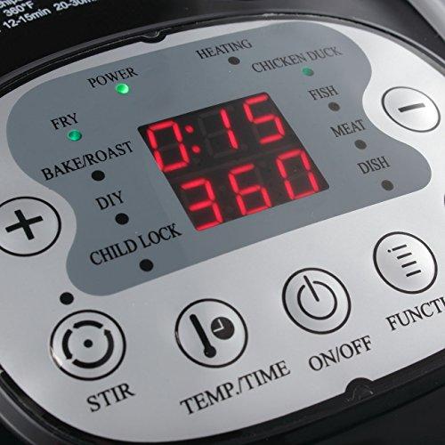 DELLA 1200W Digital Air Fryer 10 Quart Multipurpose Stirrer Rotisserie Oil Less Large Timer & Temperature Controls Roaster, Black by DELLA (Image #2)