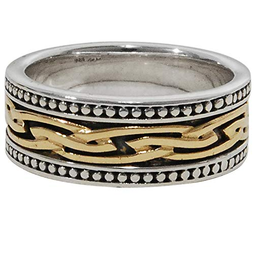 Mens Tribal Celtic Knot Ring | Sterling Silver And Gold | By Keith Jack | Size 12 Mens Ring