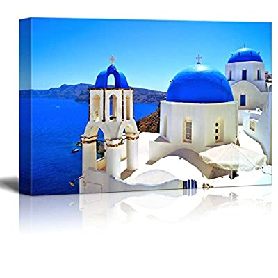 Canvas Prints Wall Art - Beautiful Blue Dome Churches of Santorini, Greece | Modern Wall Decor/Home Art Stretched Gallery Wraps Giclee Print & Wood Framed. Ready to Hang - 12