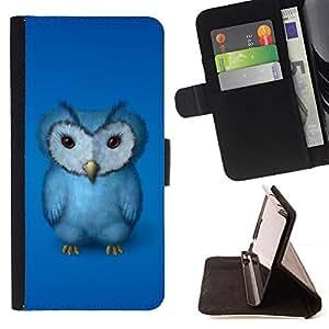 BullDog Case - FOR/Apple Iphone 4 / 4S / - / blue owl furry baby bird grumpy drawing art /- Monedero de cuero de la PU Llevar cubierta de la caja con el ID Credit Card Slots Flip funda de cuer