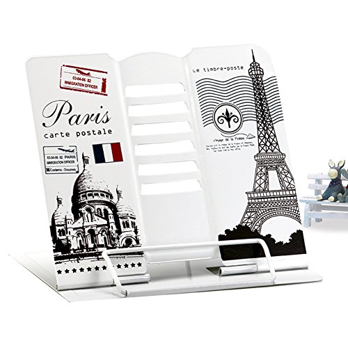 Home-organizer Tech Stainless Book Display Stand,Cookbook Desk Stand Bookrest,Textbooks Document Music Books Tablet Cook Recipe Reading Rest Bookstands (Eiffel Tower) Christmas Musical Notes Clip Art