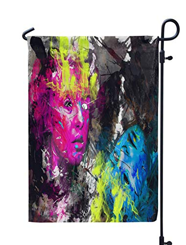 Soopat Psychedelic Seasonal Flag, Psychedelic Mask with Splashes Digital PsychedelicWeatherproof Double Stitched Outdoor Decorative Flags for Garden Yard 12''L x 18''W Welcome Garden Flag ()