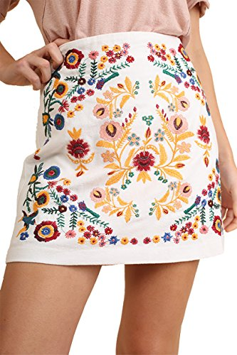 Umgee That's My Girl! Mandy + Ally's Heavily Embroidered Mini Skirt (White, Large)