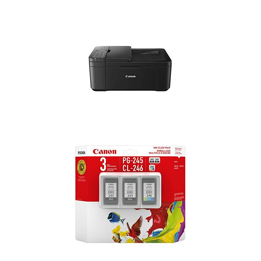 Canon PIXMA TR4527 Wireless Color Photo Printer with Scanner, Copier & Fax, Black and Ink Club Pack bundle