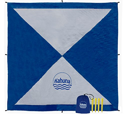 Kahuna Parachute Beach Blanket - Sandfree Oversized XL Extra Large 8x8 - No Sand Beach Sheet Picnic Blanket - Portable, Lightweight, with Sand Pockets ()