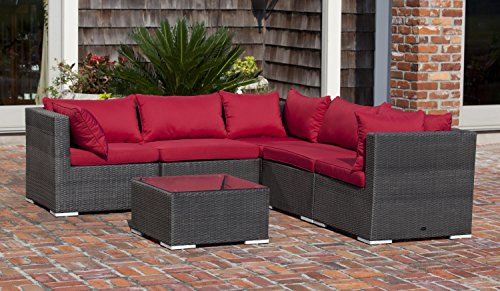 Patio Sense Sino Wicker 6-Piece Sofa Set Mocha finish 62173