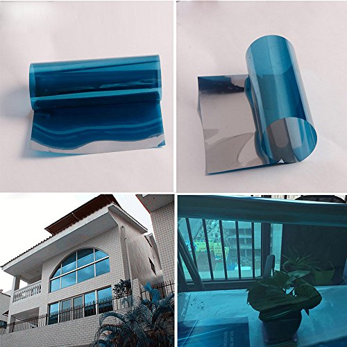 HOHO Solar Blue Silver Window Tint Film One Way Vision Reflective Sticker 60''x66ft by HOHO