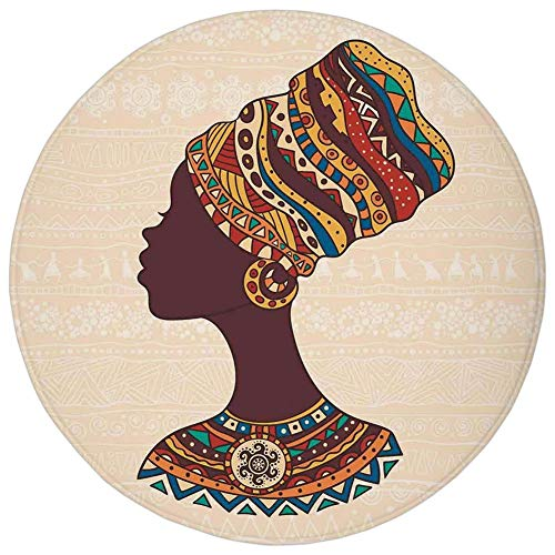 Weeosazg Round Rug Mat Carpet,Tribal Decor,African Woman in Traditional Ethnic Fashion Dress Portrait Glamour Graphic,Cream Brown,Flannel Microfiber Non-Slip Soft Absorbent,for Kitchen Floor Bathroom