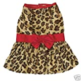 Safari Dog Dress - Leopard Print with Red Satin Accent at THE REGAL DOG - Size S Small