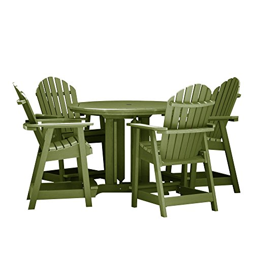 Highwood AD-CNA48-SGE Hamilton 5-Piece Round Dining Set, Counter Height, Dried Sage
