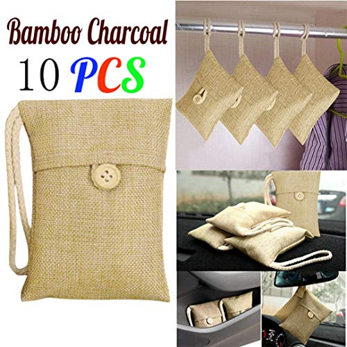 Bamboo Charcoal Bags, Bag Car Bamboo Charcoal Activated Carbon Air Freshener Odor Deodorant (10 PCS, Beige) ()