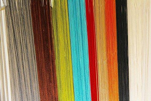 Fadenvorhang 90x245cm - versch. Farben wählbar + kostenloser Versand / Fadenvorhang mit Tunneldurchzug,Fadengardine, Raumteiler, Türvorhang, Stringvorhang, Mückenschutz, Fliegenschutz, Faden Vorhang, (Schoko Braun)