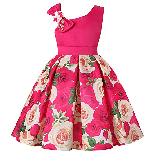 NSSMWTTC Flower Girls Dresses Toddler Baby Birthday Halloween Day Easter Pageant Tea Dress (Rose01,100)