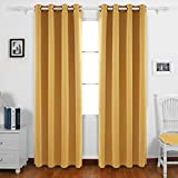 yellow insulated grommet curtains - Deconovo Grommet Blackout Curtains Grommet Top Window Coverings Thermal Insulated Light Blocking Curtains for Bedroom 52W x 95L Inch Olive Yellow Set of 2