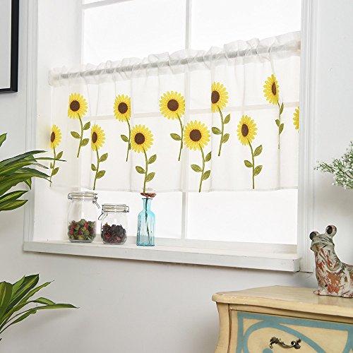 -  AIUSD Clearance , Leaves Sheer Curtain Tulle Window Treatment Voile Drape Valance 1 Panel Fabric