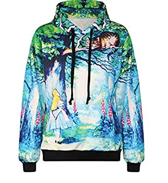 3D Rainbow Unicorn Boutique Digital Print Hooded Sweater Large Size Couple Set-X