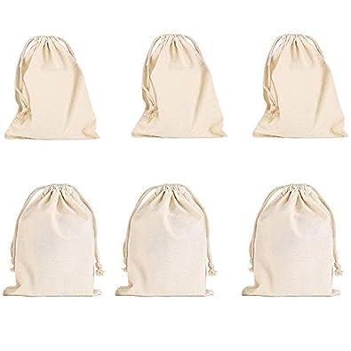 vientiane Bolsas De Algodón con Cordón Ajustable, 6 Piezas Bolso Pequeño Bolso De Boda Bolso Bolsa De Regalo Bolso De Cumpleaños (15 * 18cm)