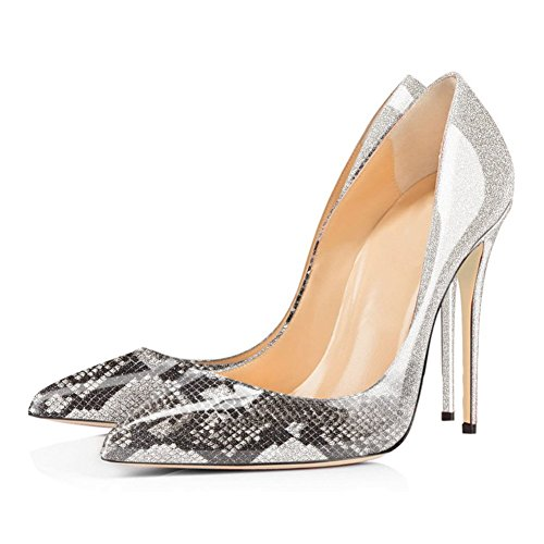 EKS Women's Gradient&Print Pointed Toe Stiletto Patent Leather Dress Pumps 12cm-Grey a8SypkBs