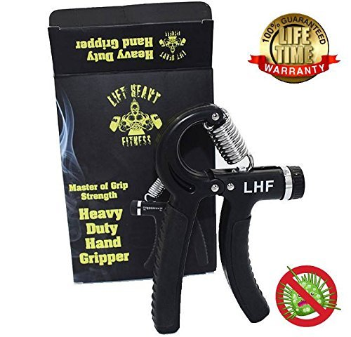 Lift Heavy Fitness Heavy Duty Hand Grippers -Hand Grip Is Anti-microbial and Guaranteed For Life Adjustable Hand Exerciser Forearm ExerciserHand Grip Strengthener Is Adjustable from 67- 164 LBS by Lift Heavy Fitness