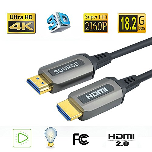 Jeirdus 33ft AOC HDMI Fiber Optic Cable Ultra HDR HDMI2.0b 18 Gbps,Support 4K60HZ ARC HDR10 HDCP2.2, Dolby Vision, Light Speed Slim and Flexible