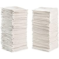 """Shop Towels (Pack of 150) 12"""" X 14"""" Reusable Cotton Towels Washcloths Lint Free- Perfect for Home, Cleaning, Mechanic, Auto or Bathrooms. (White/Natural)"""