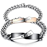 Jewelry Cubic Zirconia Stainless Steel Mens Womens Couples Love Bracelet Set, Valentines Day Gift