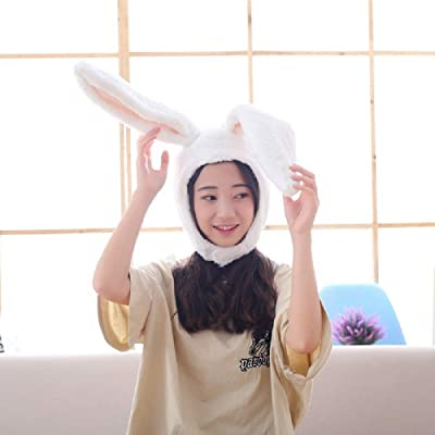 Plush Fun Bunny Ears Hood Women Costume Hats Warm, Soft and Cozy (White): Clothing [5Bkhe0501463]