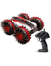 Amphibious RC Stunt Car 2.4Ghz Surface Aerobic Remote Control Vehicle 4WD Water and Land Remote Control Boat Truck Monster Double Sided Rotate, 360 Degree Spinning and Flips (red)