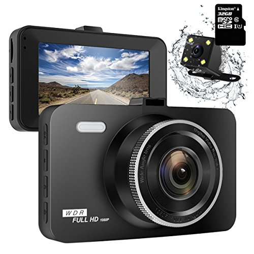 ULU SD10 Dash Cam 3.0″ FHD 1080P Dual Channel Front and Rear 290° Super Wide Angle Car DVR Dashboard Camera Recorder with Sony 323 Sensor, 32GB Card, Novatek96655 Chipset, Night Vision, G-Sensor