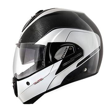 Shark Evoline Pro Carbon DWA cascos de motocicleta, color negro/blanco, talla L