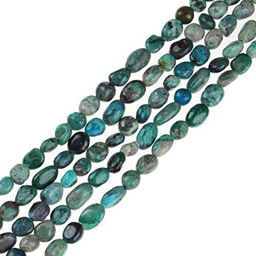 Natural Irregular Amethysts Pink Quartz Rutilated Jaspers Carnelian Gravel Gemstone Loose Stone Beads 6x8mm for DIY Jewelry Making Bracelets (Chrysocolla)