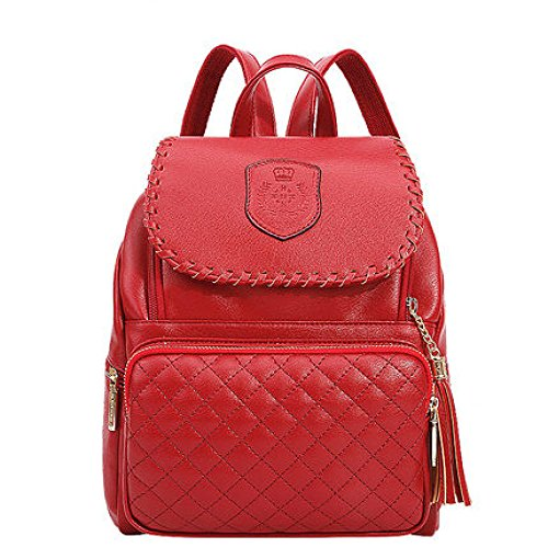 Ladies Bag Casual Shoulder Fashion 2018 Red College Style Woman Pure PU Backpack Color pzPXqX