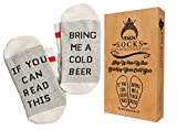 pics if t - ITACH Funny Beer Socks + Gift Box | If You Can Read This Bring Me A Cold Beer | Perfect Novelty Gift Socks for Beer Lovers, Birthdays, White Elephant or Best Friends - Light Beige and Gray, Size 6 to 12