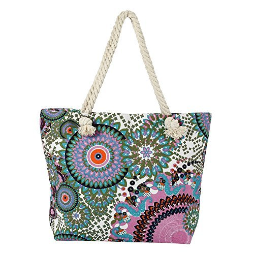 Beach Bag for Women, Sturdy and Roomy Shoulder Tote, Large, Enthic Flower - Antique Green - Fun Beach Bag