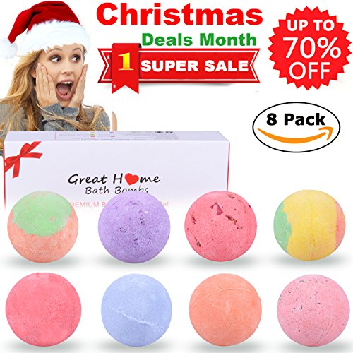 Natural Bubble Bath Bombs Gift Set for Women Ultra Lush Spa Large Bath Fizzies Kit for All Ages Kids Wife Girlfriend Men Christmas Gift Idea Organic Bath Pearls Beads Soap Great Home 8 X 4.5 OZ (Christmas Bath Ideas)