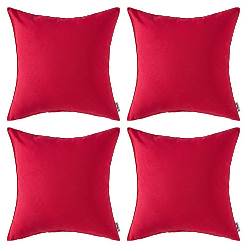 MIULEE Pack of 4 Decorative Outdoor Waterproof Pillow Cover Square Garden Cushion Case PU Coating Throw Pillow Cover Shell for Tent Park Couch 18x18 Inch Red (Pillows Waterproof Outdoor)