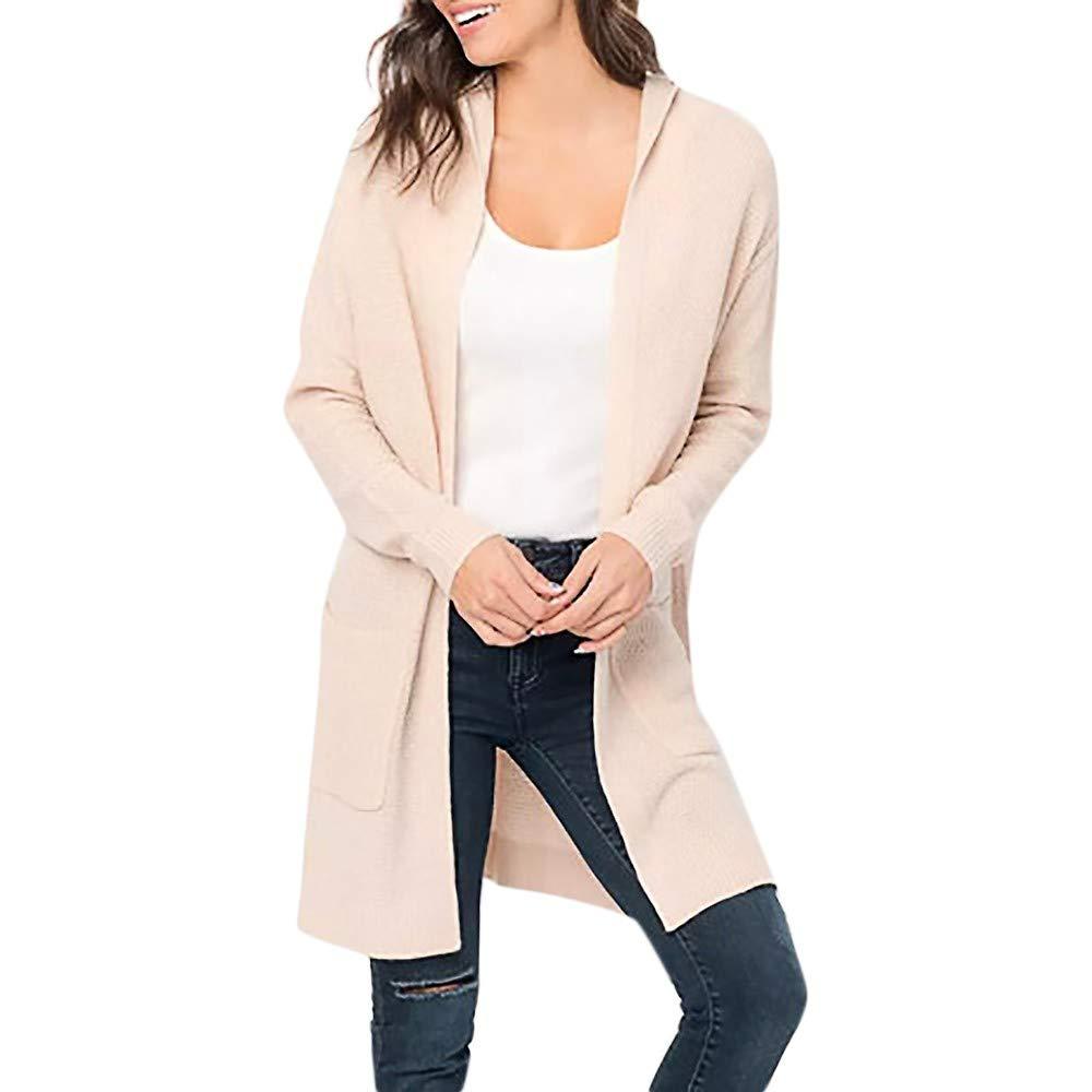 Big Promotion !Cardigan Tops,BeautyVan Women Winter Oversized Long Sleeve Pocket Knitted Hooded Coat Sweater