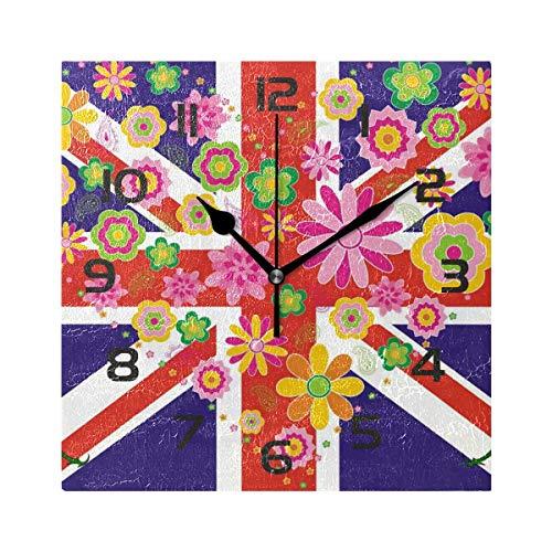 Arthuryerkes Wall Clock UK Flag Union Jack Pattern Decorative Square Wall Clock Decor for Bedroom Living Room Kitchen Bathroom Office School