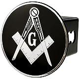 "Mason Emblem Metal Trailer Hitch Cover (Fits 2"" Receivers, Masonic Square Chrome)"