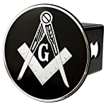 Mason Emblem Metal Trailer Hitch Cover (Fits 2″ Receivers, Masonic Square Chrome)