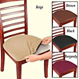 bar stool seat pads - Soft, Stretchable, Removable, Machine Washable Seat Covers and Protectors For Kids, Pets and Entertaining, Set Of 2, Beige