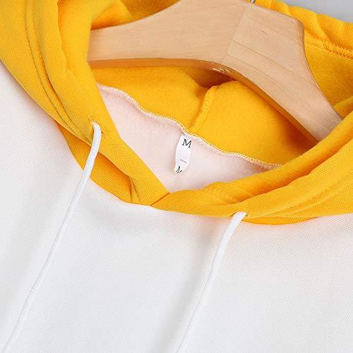 Camisa Tops Amarillo larga manga de Impresas Aimee7 Mujer Hoodie Cartas Sudadera UwqEUg6S